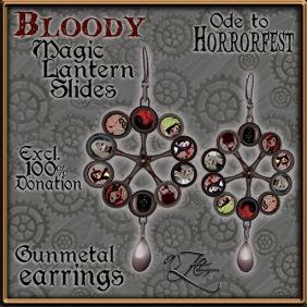 AZE Horrorfest Magic Lantern Slide Earrings - Gunmetal